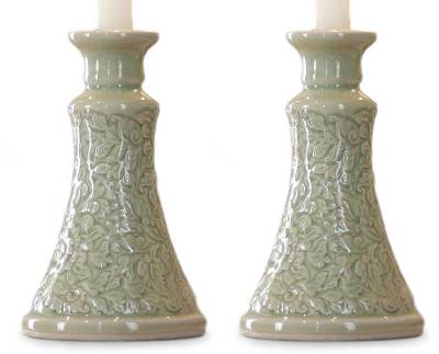 Celadon Ceramic Candle Holders (Pair)