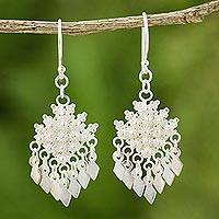 Sterling silver chandelier earrings, 'Pikun Flowers' - Unique Floral Sterling Silver Chandelier Earrings