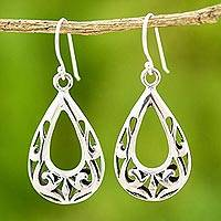 Sterling silver dangle earrings, 'Loopy Vines' - Hand Made Sterling Silver Dangle Earrings