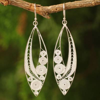 Sterling silver filigree earrings, 'Tendrils' - Sterling Silver Filigree Earrings