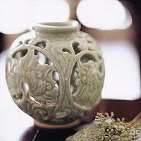 Celadon ceramic vase, 'Ivy' - Celadon ceramic vase