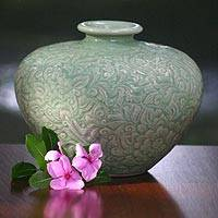 Celadon ceramic vase, 'Green Beauty' - Hand Made Celadon Ceramic Vase