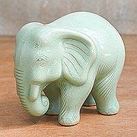Celadon ceramic figurine, 'Elephant Power & Tranquility' - Handcrafted Celadon Ceramic Sculpture