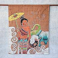 Cotton batik wall hanging, 'Grace and Power' - Batik Cotton Wall Hanging