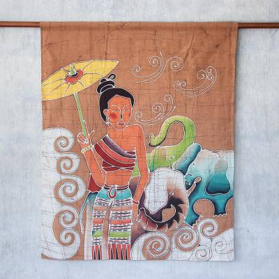 Cotton batik wall hanging, 'Grace and Power' - Batik Cotton Wall Hanging