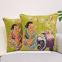 Cotton cushion covers, 'Flowery Day' (pair) - Fair Trade Batik Cotton Cushion Covers (Pair)