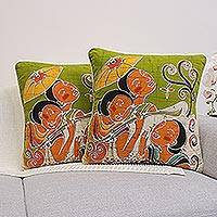 Cotton cushion covers, 'Lanna Ladies' Charm' (pair) - Artisan Crafted Cotton Cushion Covers (Pair)