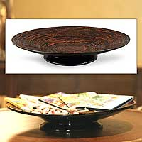 Lacquered bamboo centerpiece, 'Geometry' - Decorative Lacquered Bamboo Centerpiece Bowl