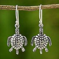 Sterling silver dangle earrings, 'Sea Turtles' - Sterling Silver Dangle Earrings