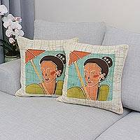 Cotton cushion covers, 'Eastern Women' (pair) - Cotton cushion covers (Pair)