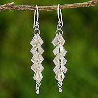 Sterling silver drop earrings, 'Cascading Curls' - Artisan Crafted Sterling Silver Dangle Earrings