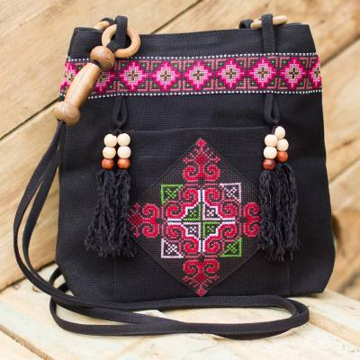 Cotton shoulder bag, 'Mountain Signals' - Hill Tribe Embroidered Cotton Shoulder Bag
