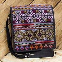 Cotton shoulder bag, 'Hmong Pride' - Hill Tribe Flap Handbag from Thailand