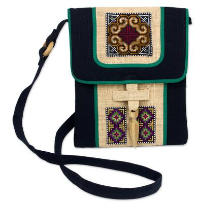 Hemp shoulder bag, 'Colors of the Night' - Hill Tribe Embroidered Hemp Handbag