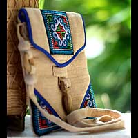 Hemp shoulder bag, 'Midnight Blossom' - Hand Crafted Hill Tribe Hemp Handbag