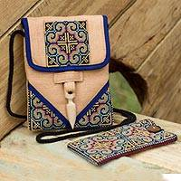 Hemp purse and phone pouch, 'Ultimate Blue' - Hill Tribe Cotton and Hemp Purse and Phone Pouch