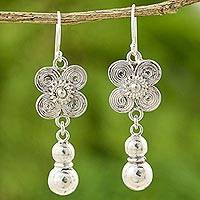 Sterling silver floral earrings, 'Siamese Beauty' - Sterling Silver Hill Tribe Earrings