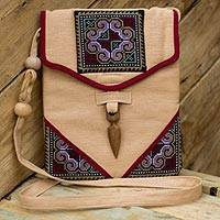 Hemp shoulder bag, 'Miracle Red' - Hemp Shoulder Bag Handmade in Thailand