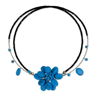 Beaded choker, 'Delicate in Blue' - Unique Floral Turquoise Colored Choker