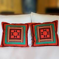 Lahu cotton cushion covers, Red Vortex (pair)