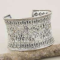 Sterling silver cuff bracelet, 'Moon Forest'