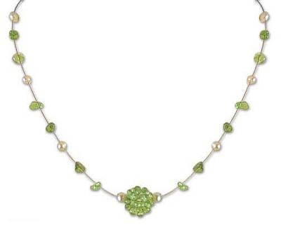 Handcrafted Pearl and Peridot Necklace from Thailand