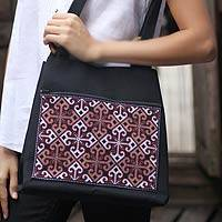 Cotton shoulder bag, 'Tribe's Identity' - Handmade Black Cotton Shoulder from Thailand