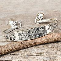 Silver cuff bracelet, 'Hill Tribe Balance' (Thailand)