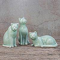 Celadon ceramic statuettes, 'Curious Kitties' (set of 3) - Green Celadon Ceramic Cat Figurines (Set of 3)