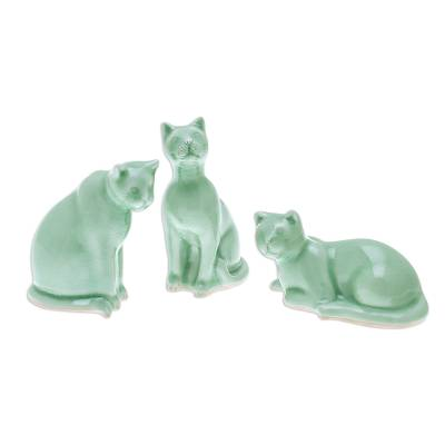 Green Celadon Ceramic Cat Figurines (Set of 3)