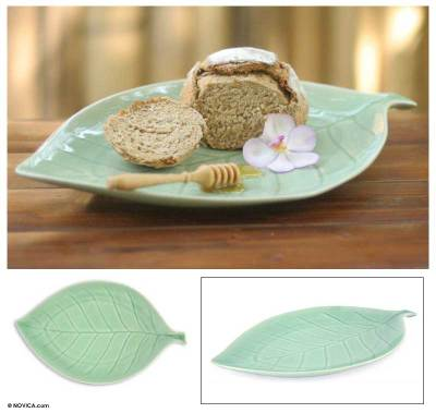 Celadon ceramic serving dish, 'Verdant Offering' - Celadon ceramic serving dish