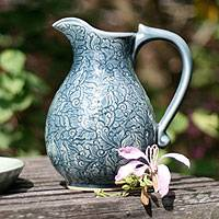 Celadon ceramic pitcher, 'Carved Jewel' - Celadon ceramic pitcher