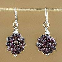 Garnet cluster earrings, 'Berries' - Garnet Cluster Earrings from Thailand