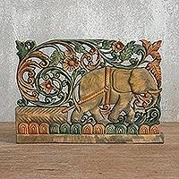 Teak relief panel Elephant Floral Thailand