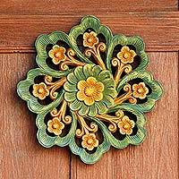 Teak relief panel, 'Evening Bloom' - Teak relief panel