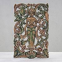 Teak relief panel, 'Angel Greeting' - Teak relief panel