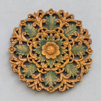 Teak relief panel, 'Leaf of Life' - Handcrafted Floral Wood Relief Panel