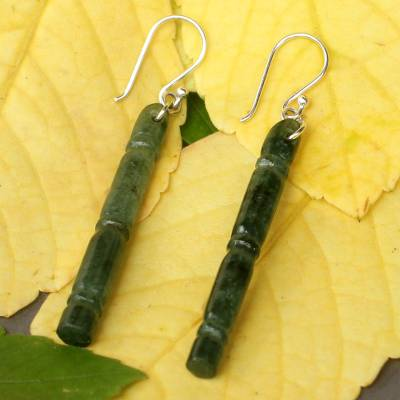 Jade dangle earrings, 'Spirit of Bamboo, Path to Enlightenment' - Handmade Jade Dangle Earrings