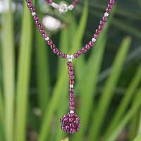 Garnet pendant necklace, 'Serenade Swing' - Garnet pendant necklace