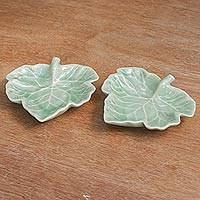 Celadon ceramic dishes, 'Tam Lung Leaf' (pair) - Celadon Ceramic Dishes (Pair)
