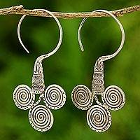 Silver dangle earrings, 'Three Eyes' - Hand Crafted Hill Tribe Silver Half Hoop Earrings
