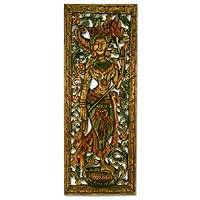 Teak relief panel Smiling Goddess Lakshmi Thailand