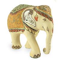 Ceramic statuette Three Headed Elephant Erawan Thailand
