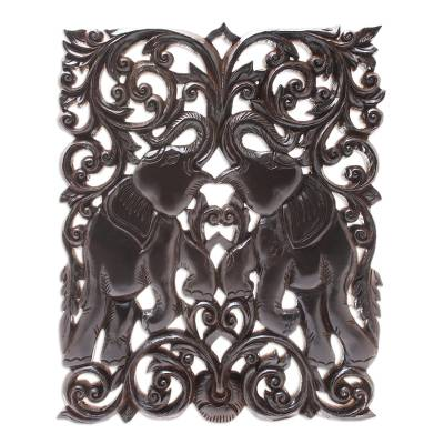 Wood Elephant Relief Panel