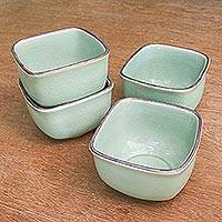 Celadon ceramic cups, 'Equanimity' (set of 4) - Celadon ceramic cups (Set of 4)