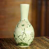 Celadon ceramic vase, 'Lofty Lotus' - Celadon ceramic vase