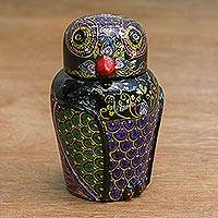 Lacquered wood box, 'Owl and Its Secrets' - Hand Painted Lacquered Wood Box