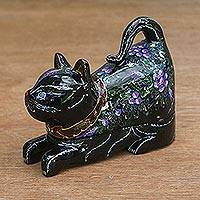 Lacquer wood box, 'Royal Heritage Cat' - Lacquer Wood Trinket Box
