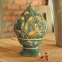 Celadon ceramic candleholder,