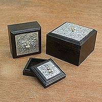 Nickel and wood boxes,